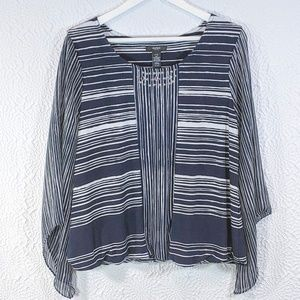 Alfani Striped Embellished Angel-Sleeve Top